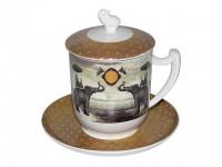Teebecher mit Sieb - Sepia Elephant von TeaLogic