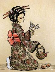 Klassische japanische Teezeremonie - Holzstich