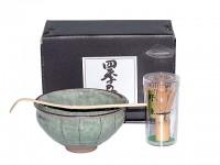 3-teiliges Teeset zur trationellen Zubereitung von Matchatee mit Schale, Löffel und Bambusbesen