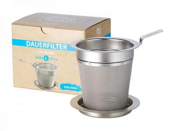"""Edelstahl Teefilter """"L"""" für Teekannen und Teebecher"""