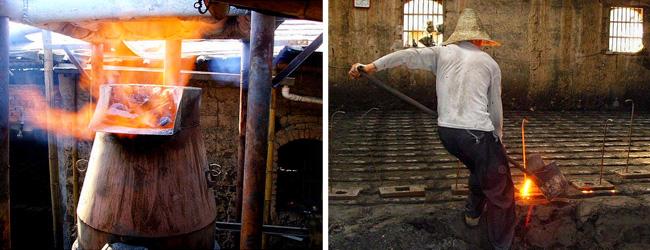 Arbeitsschritte bei der Herstellung einer gusseisernen Teekanne in China