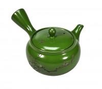 Teekanne aus Ton dunkelgrün mit Kirschzweig-Gravur