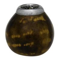 Kalebasse Trinkgefäß (Kürbis) mit Brandmalerei und silberfarbenen rand